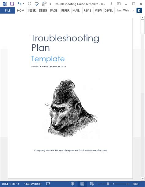 troubleshooting guide template ms word  pages