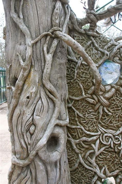 detail  fantasy faux bois cedar tree concrete