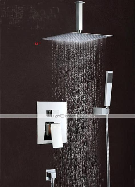 wall mounted rain shower faucet set 12 quot square shower head