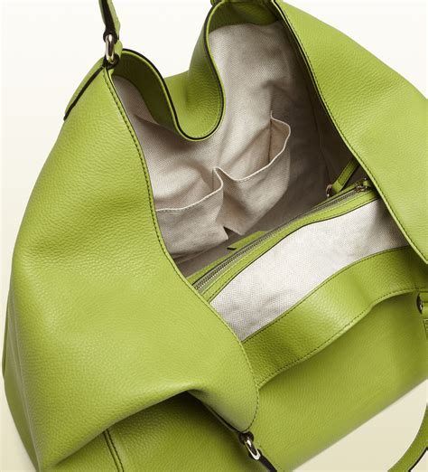lyst gucci soho apple green leather shoulder bag  green