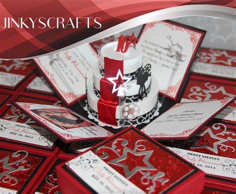 hollywood red carpet pop  invitations jinkys crafts