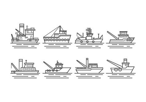 Tugboat Outline by Free Tugboat Vector Free Vector Stock