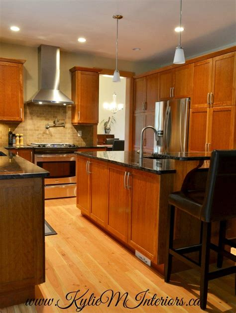 natural stained fir floors  kitchen  stained cherry custom cabinets  dark granite