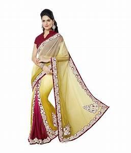 Vidya Fashion Yellow Embroidered Net Lehenga Saree Best