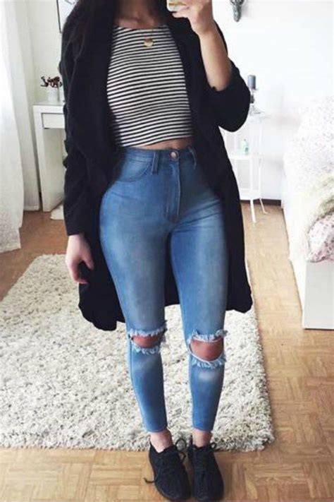 9 back to school outfits for teens with a striped top - myschooloutfits.com