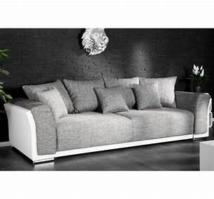 canape design ricky 3 places convertible blanc gris With canape gris moderne