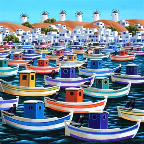 Find A Fishing Boat In Ireland by Mykonos Greek Fishing Boats By Irish Contemporary Artist