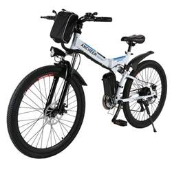 36V 26 inch Foldable Electric Power Mountain Bike Bicycle Lithium-Ion Battery Aluminum Alloy Frame Shimano 7th gear transmission BYE, White