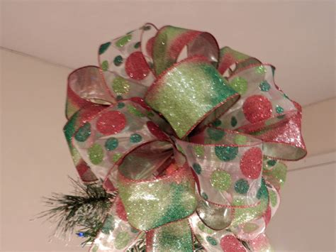 large christmas tree topper bow 2 ribbons sheer ribbon with
