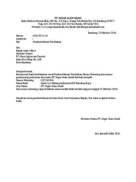 contoh surat pemberitahuan perubahan nomor rekening bank