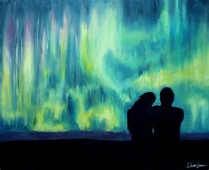northern lights aurora borealis painting