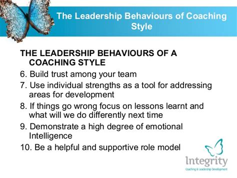 leadership behaviours   coaching style