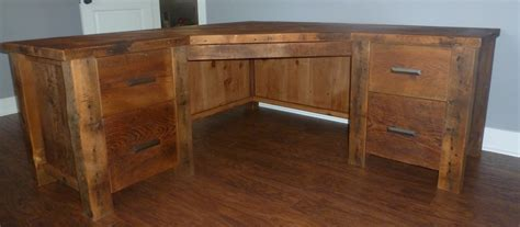 rustic l shaped computer desk home storage office fence row furniture