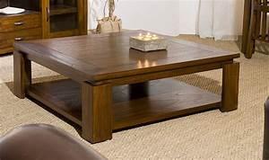 Table Basse Bois Exotique : table basse carr e contemporaine en bois massif 90 x 90 cm milo ~ Dode.kayakingforconservation.com Idées de Décoration