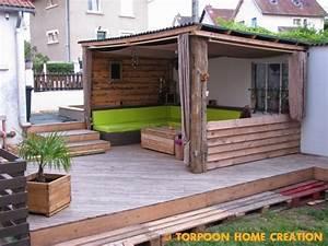 torpoon home creation terrasse en palettes et abri exterieur With amenager une terrasse exterieure 11 amenagement exterieur jardin colmar terrasse bois cloture