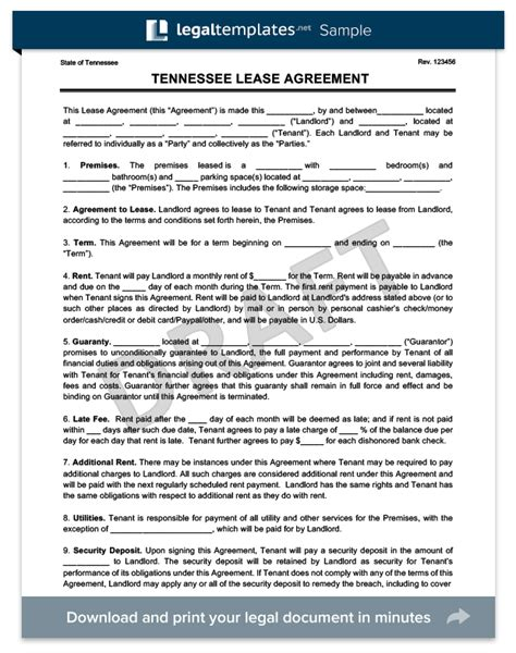 tennessee residential leaserental agreement create