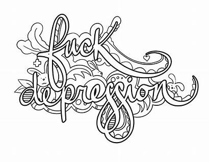 Coloring Pages Adult Depression Word Books Swear