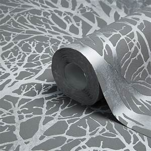 A.S. Creation Life Grey & Silver Tree Print Metallic ...