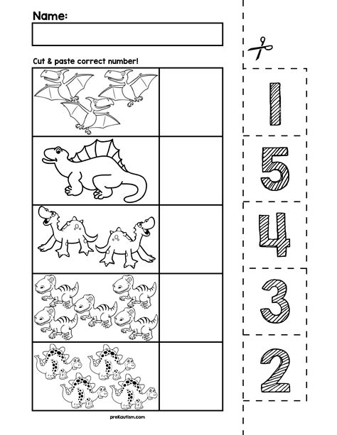 dinosaur number cut amp match worksheets numbers 1 5 522 | 96caf8da5487abdfba3844e283781336