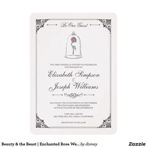 beauty   beast enchanted rose wedding invitation