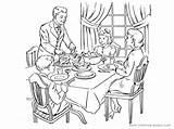 Dinner Coloring Table Dining Eating Drawing Thanksgiving Getdrawings Getcolorings Printable sketch template