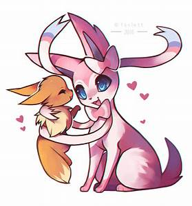 Sylveon and Eevee by foxlett on DeviantArt