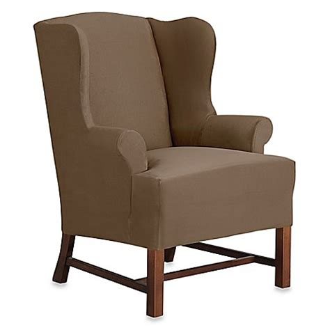 sure fit wing chair slipcover sure fit designer suede wing chair slipcover