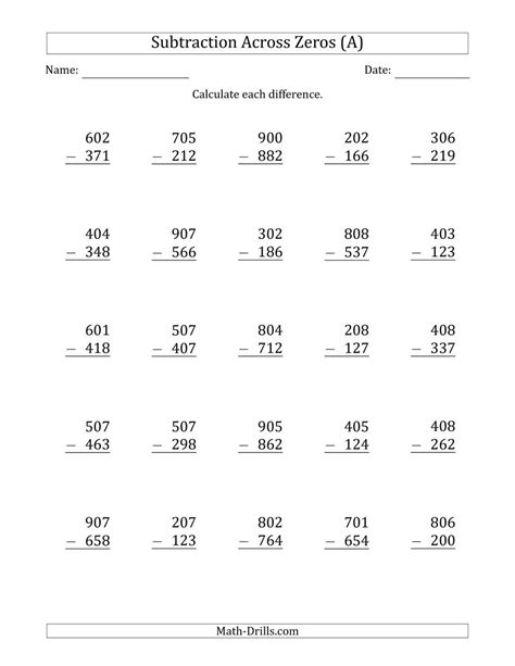 three digit subtraction math worksheet 3 digit subtracting across zeros in the middle ones
