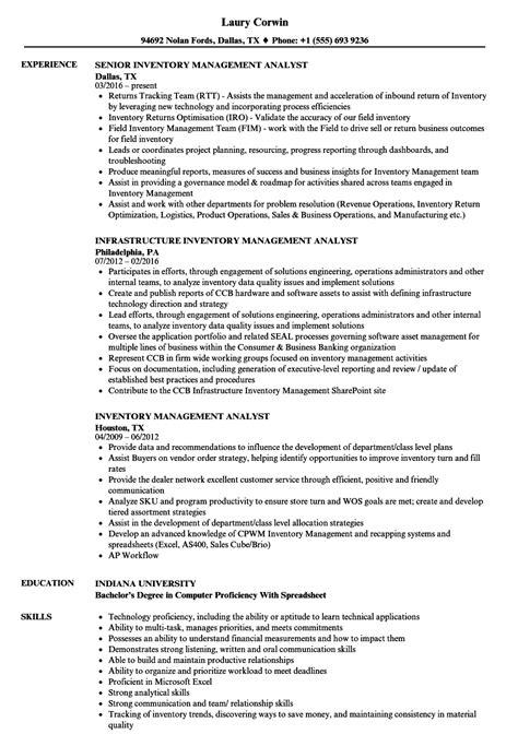 Inventory Management Resume by Inventory Management Analyst Resume Sles Velvet