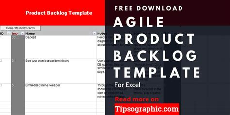 product backlog template agile product backlog template for excel free tipsographic