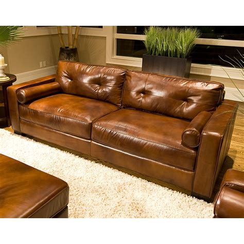 rustic brown leather sofa soho top grain leather sofa in rustic brown dcg stores