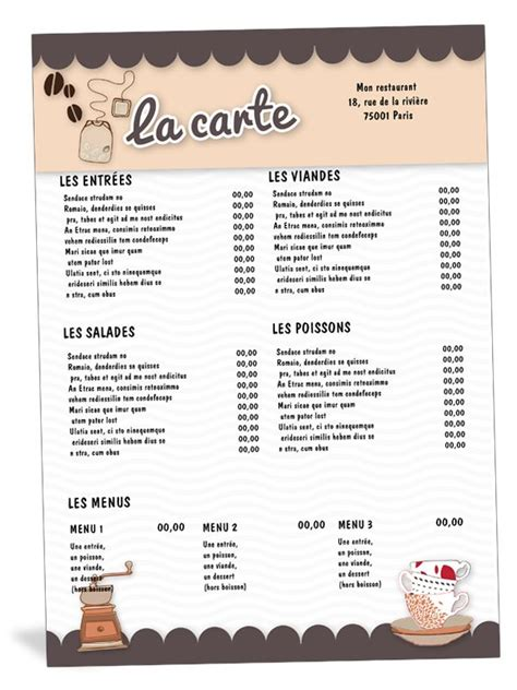 carte de menu restaurant modele carte de menu restaurant salon de th 233 caf 233 restaurants