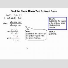 How To Find The Slope Given Two Ordered Pairs Youtube