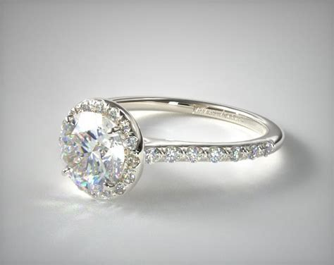 Pave Halo And Shank Diamond Engagement Ring (round)