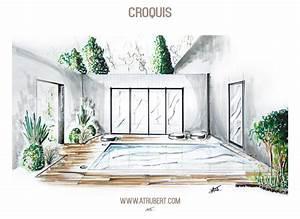 dessin perspective croquis paysage artiste alexandre With amenagement d une piscine 0 amenagements exterieurs am esquisse architecte d