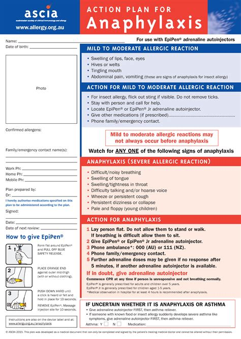 asthma  anaphylaxis action plan catch training