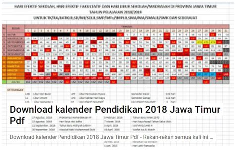 Download Kalender Pendidikan Jawa Timur 2018/2019 Format