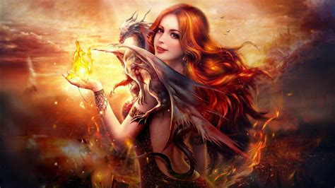 dragon fire fantasy girl wallpapers hd wallpapers id