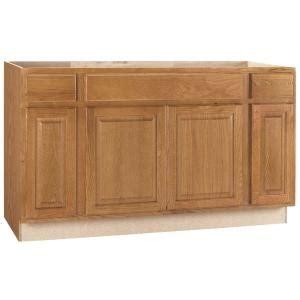 hampton bay hampton assembled xx  sink base kitchen cabinet  medium oak ksb mo