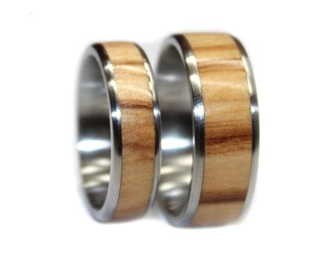 Olivewood And Stainless Steel Wooden Ring Set  Wooden Rings