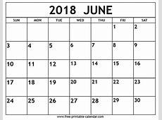 June 2018 calendar Freeprintablecalendarcom