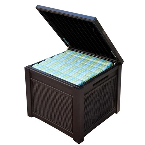 suncast resin 99 gallon deck box dbw9200 suncast wicker 99 gal resin deck box dbw9200 the home depot