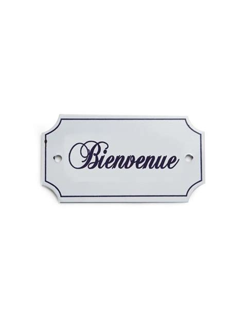 """4"""" Metal-Iron White French Welcome """"Bienvenue"""" Wall Sign ..."""