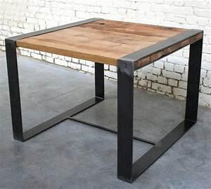 Table Contemporaine Bois Et Metal : table rc 39 t002 giani desmet meubles indus bois m tal et cuir ~ Teatrodelosmanantiales.com Idées de Décoration