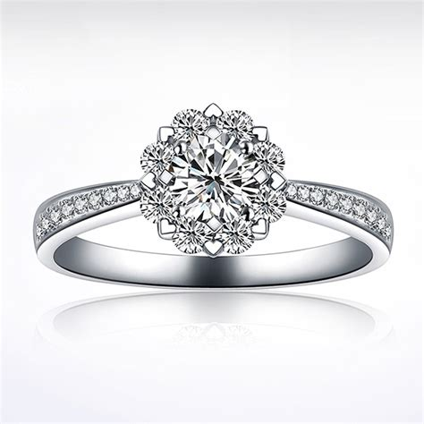 romantic 925 sterling silver cz inlaid engagement ring for