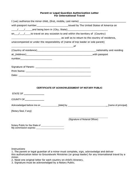 authorization letter legal guardian guardianship sample