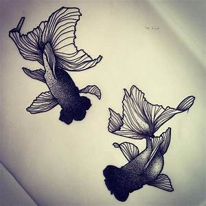 Dotwork Black Ink Two Fishes Tattoo Design