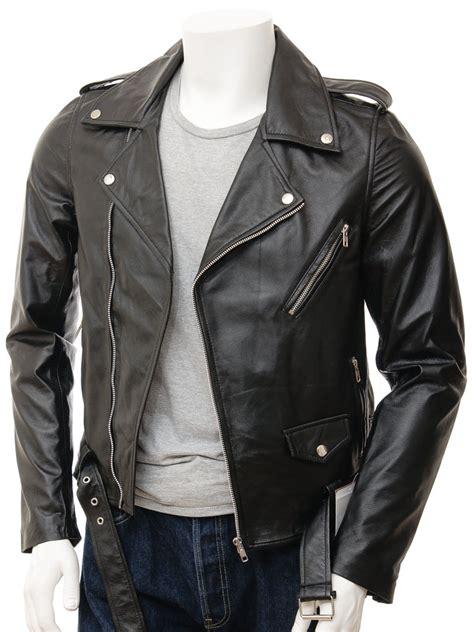 Men's Black Leather Biker Jacket: Shores :: MEN :: Caine