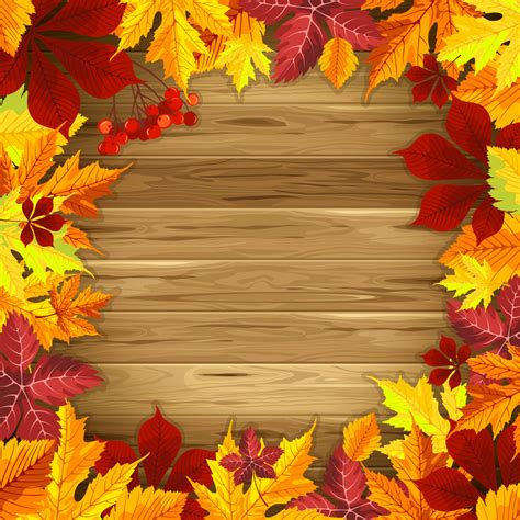 Wooden Fall Background With Fall Leaves Gallery