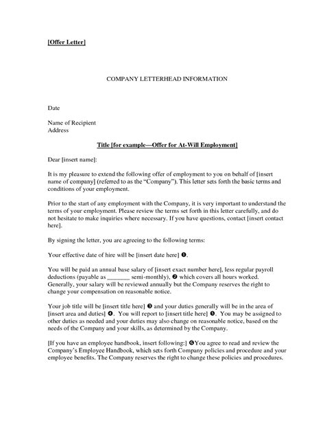 letter  employment offer task list templates